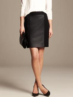 br leather panel skirt